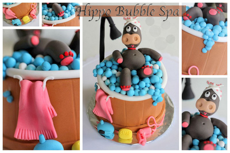Hippo Bubble Spa Fondant Cake