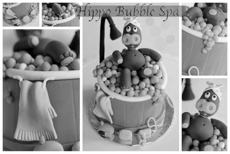Hippo Bubble Spa Fondant Cake b&w.jpg