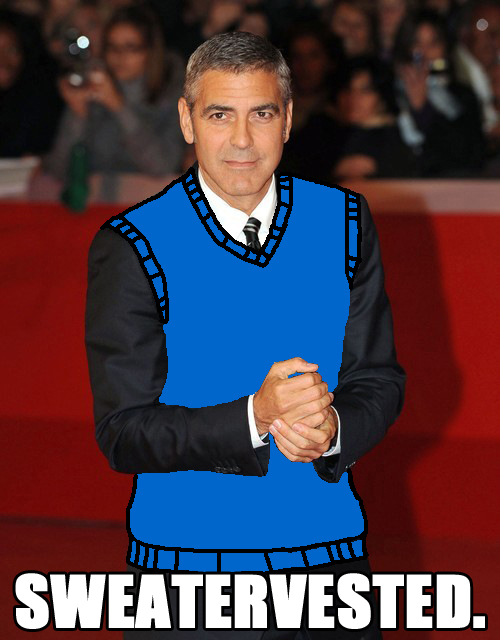 The Rescignos have hit Tumblr, and I feel sweatervesty about it. therescignos: George Clooney just got vested.