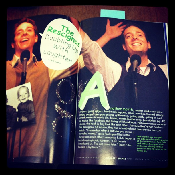 check out @therescignos in april's Cabaret Scenes mag! (Taken with Instagram at The Araca Group)