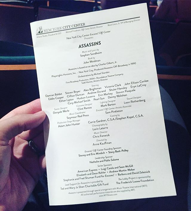 """Araca Project Bootcamp 2017 is well underway! This year, along with workshops from professionals in the industry, we were able to take the producing teams to an invited dress at @nycitycenter to see """"Assassins""""! Prior to the show NYCC gave us the lowdown on fundraising for a production. We left with a lot to chew on. Good thing we're right back at it tomorrow!"""