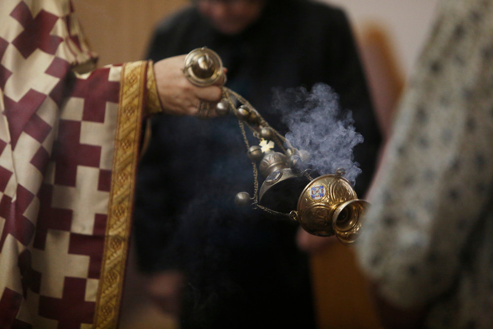 """When you look at the candles and lamps burning in church, rise in thought from the material fire to the immaterial fire of the Holy Spirit, """"for our God is a consuming fire."""" When you see and smell the fragrant incense, rise in thought to the spiritual fragrance of the Holy Spirit, """"for we are unto God a sweet savor of Christ."""". - —ST. JOHN KRONSTADT"""