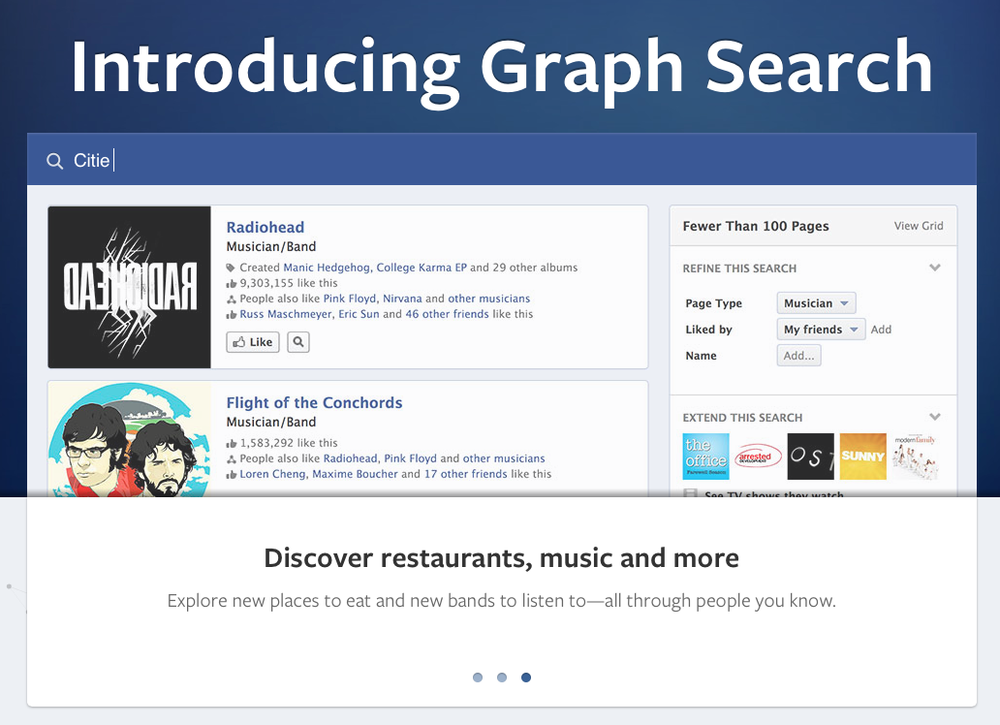 Graph Search shown by somebody with better musical taste than I have