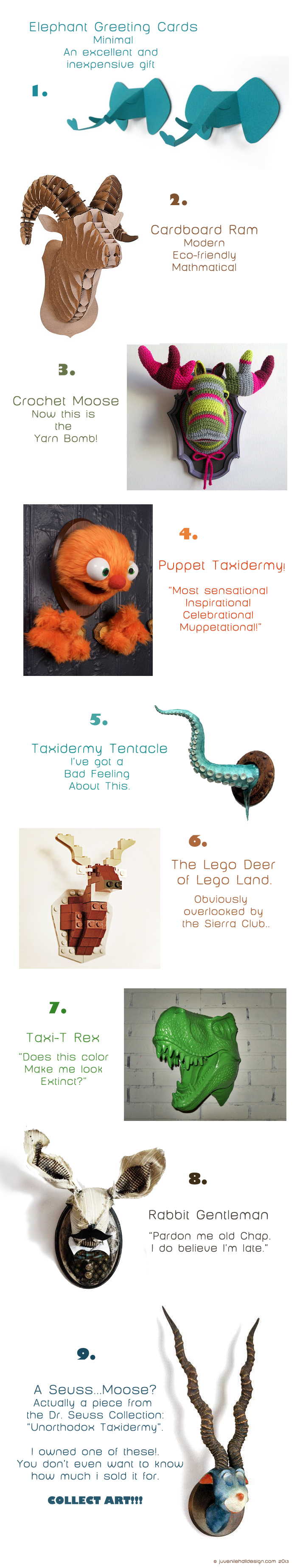 1. Elephant Greeting Cards    2. Cardboard Ram   3. Crochet Moose (I would love to know who made this!)   4.  Puppet Taxidermy (a.k.a. Murphy)   5.  Taxidermy Tentacle   6.  Lego Deer   7.  Taxi-T Rex   8.  Rabbit Gentleman   9. Seuss Moose?