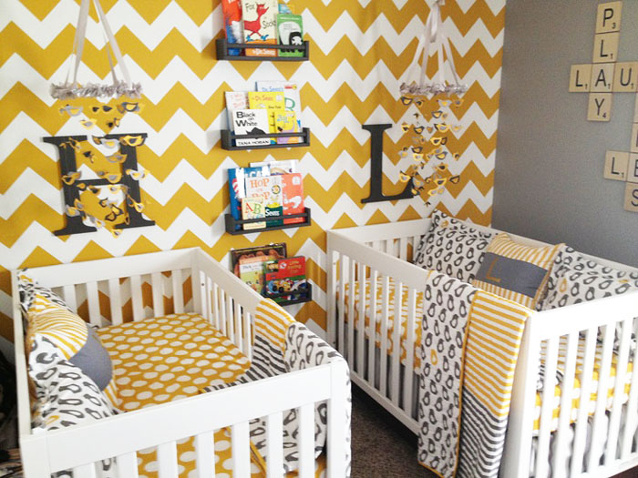 Yellow and White Chevron twin Nursery