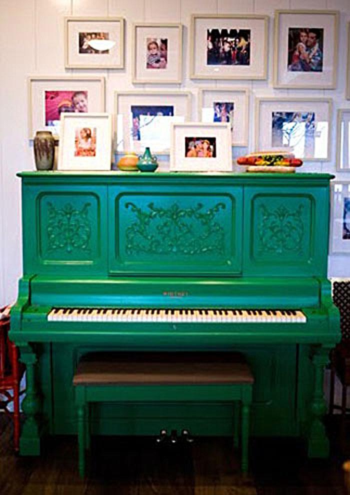 Emerald Green Upright Grand Piano
