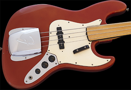 1971 Jazz Bass, VERY RARE FACTORY FRETLESS, Candy Apple Red