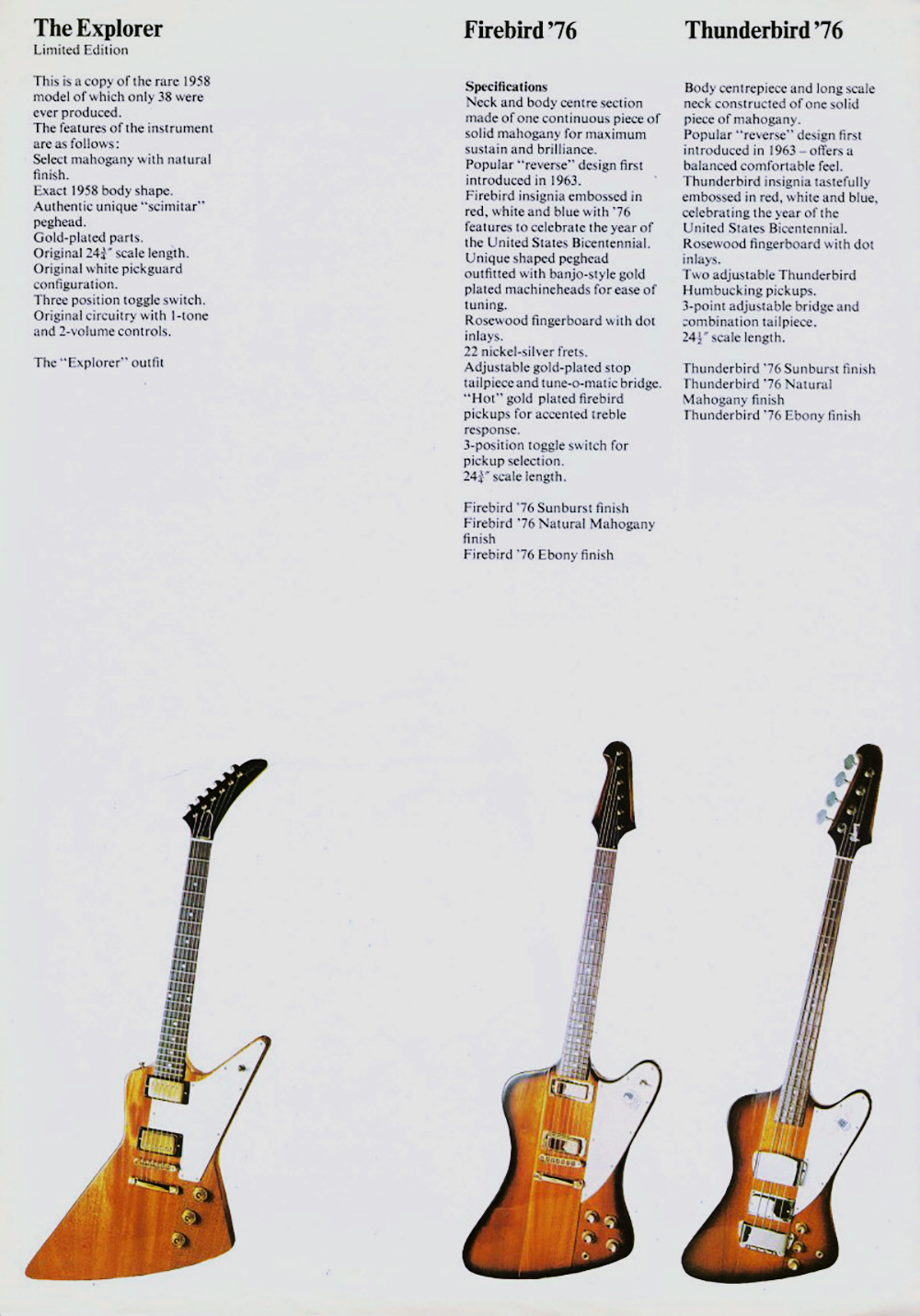 A page from the 1977 catalog. Even though Gibson released these models earlier, this is the 1st catalog these models appeared in.