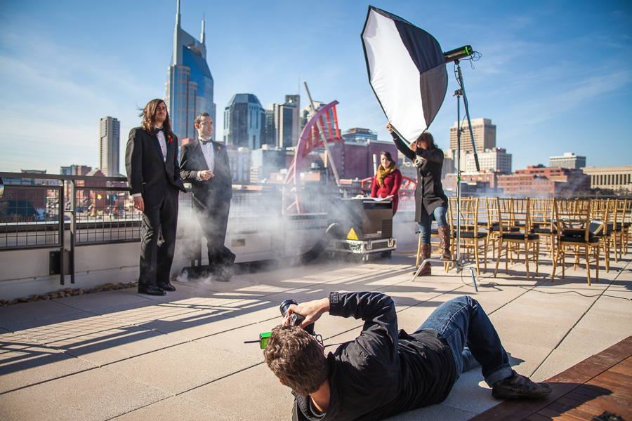 The NPG team photographing a wedding in downtown Nashville, Tennessee.