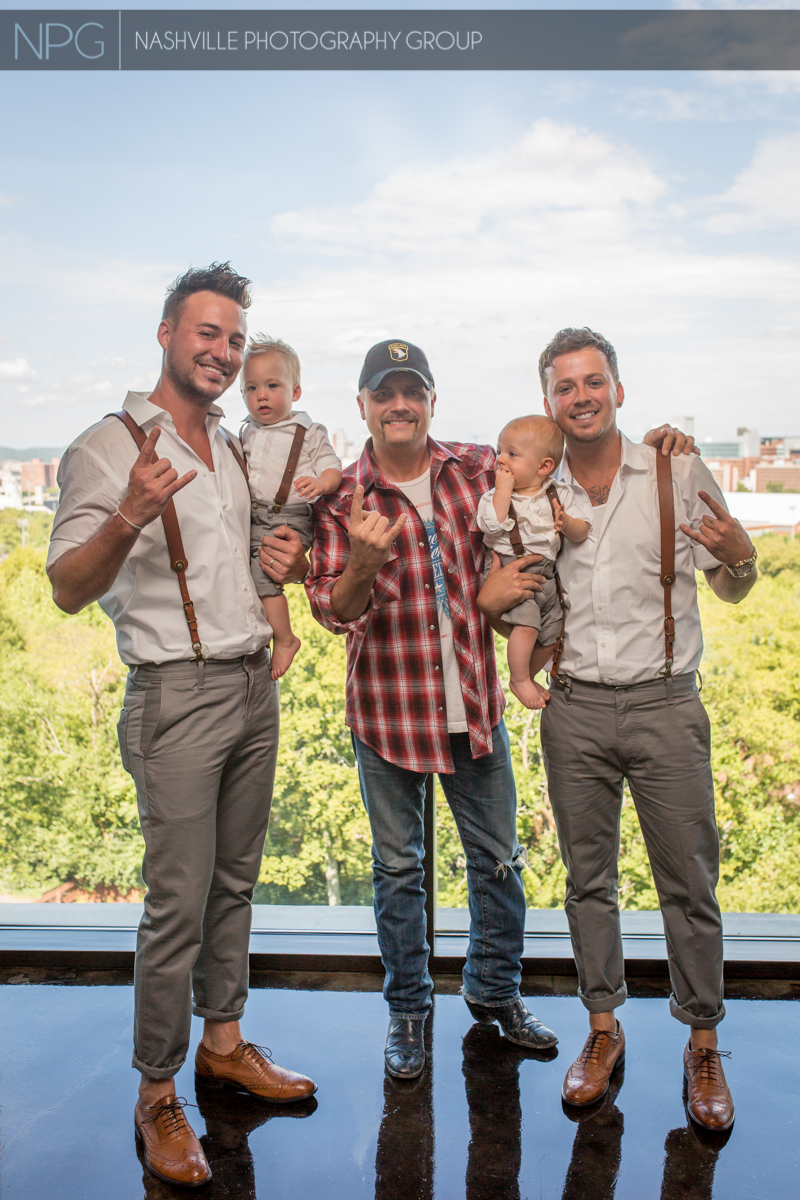 Eric Gunderson with his son Camden, John Rich, Stephen Barker Liles with his son Jett at John Rich's house overlooking Nashville.