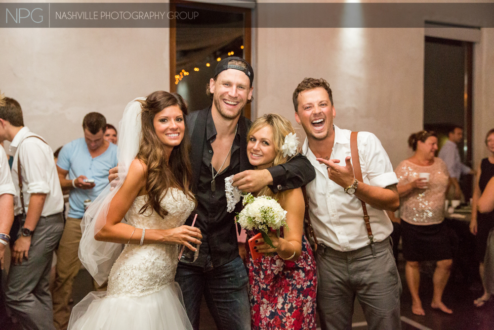 Country recording artist Chase Rice caught the garter.