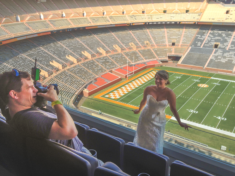 Jeb photographing a bride at Neyland Stadium at University of Tennessee.