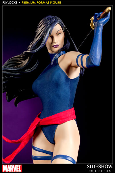 Psylocke    Premium Format Figure    Price:     US $ 299.99        The latest to join Sideshow's cast of Marvel Premium Format Figures is Psylocke. Each piece is individually painted and finished, each with its own unique quality and detail that is the trademark of a handcrafted Sideshow Collectibles product. Featuring a real fabric costume and presenting the psychic beauty in approximately 1:4 scale, the Psylocke Premium Format Figure is a stunning addition to any collection.