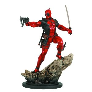 "Bowen Designs Deadpool Action Version Painted Statue     by  Bowen Designs      $239.99    Product Features      A Bowen Designs sculpt   Sculpted by the Kucharek Brothers   Stands over 12"" tall   Companion piece to the Cable 'Action' statue   Strictly limited"