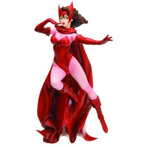 "Kotobukiya Marvel Comics: Scarlet Witch Bishoujo Statue     by  Kotobukiya      $78.10    Product Features      The Scarlet Witch is the daughter of Magneto and a member of Marvel's Avengers   Designed by illustrator Shunya Yamashita   Sculpted by Koei Matsumoto   Stands 7.5"" tall   Made of high-quality PVC plastic"
