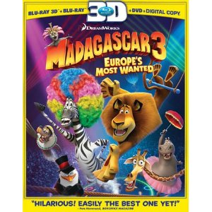 Madagascar 3: Europe's Most Wanted (Three-Disc Blu-ray 3D / Blu-ray / DVD Combo + Digital Copy + UltraViolet) (2012)     Ben Stiller   (Actor) ,  Jada Pinkett Smith   (Actor) ,  Tom McGrath   (Director) ,  Conrad Vernon   (Director)   |   Rated:  PG  |   Format:  Blu-ray     $33.95            Madagascar 3   is the funny, action-filled third installment in the popular animated   Madagascar   franchise. The film opens with the penguins and lemur King Julien XIII flying off in a monkey-powered plane to visit the casinos of Monte Carlo, leaving Alex, Marty, Gloria, and Melman back in Africa awaiting their return. When the penguins don't come back, the lion, zebra, hippo, and giraffe go after them and descend on the casino in their typically bumbling fashion.