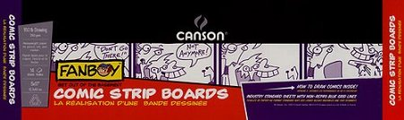 Canson Comic Strip Boards- 5x17 Inch Pad     by  Canson       $14.94            Canson Comic Strip BoardsThis pad contains 14 sheets of 150 lb drawing paper; ideal for pencil ink and markers. Each page is printed with non photo blue- the center of the page has one large block for drawing. This block is outlined with a non-photo blue ruler and it measures 4x13 inches. The left hand side of each page has a place for you to write your comic book title your name and the date. Overall the pad measures 5x17 inches. 14 acid free sheets 5x17 inch glue bound pad.