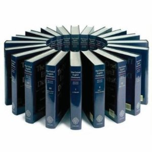 Oxford English Dictionary: 20 vol. print set & CD ROM  [Hardcover]       J. Simpson  (Author),  E. Weiner  (Author)     $1,290.00      The 20-volume Oxford English Dictionary is the accepted authority on the evolution of the English language over the last millennium. It traces the usage of words through 2.4 million quotations from a wide range of international English language sources.    The OED has a unique historical focus. Accompanying each definition is a chronologically arranged group of quotations that trace the usage of words, and show the contexts in which they can be used.