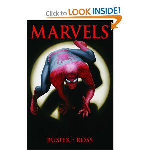 Marvels [Paperback] Kurt Busiek (Author), Alex Ross (Illustrator) $16.49  Welcome to New York. Here, burning figures roam the streets, men in brightly colored costumes scale the glass and concrete walls, and creatures from space threaten to devour our world. This is the Marvel Universe, where the ordinary and fantastic interact daily. This is the world of MARVELS. Collecting MARVELS #0-4.