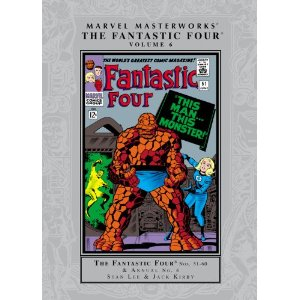 "Marvel Masterworks - The Fantastic Four - Volume 6 (Marvel Masterworks Fantastic Four (Quality)) [Paperback] Stan Lee (Author), Jack Kirby (Illustrator) $24.13  Stan Lee and Jack Kirby continue their legendary, trend-setting run on the Fantastic Four! Witness such classics as ""This Man, This Monster,"" the war of the Human Torches and the debut of the Black Panther! Plus: The Inhumans stand revealed! The devilry of Klaw, Sultan of Sound! And Doctor Doom seizes the Power Cosmic from the Silver Surfer while life itself hangs in the balance! The hits just keep on coming for the world's most famous heroes!"