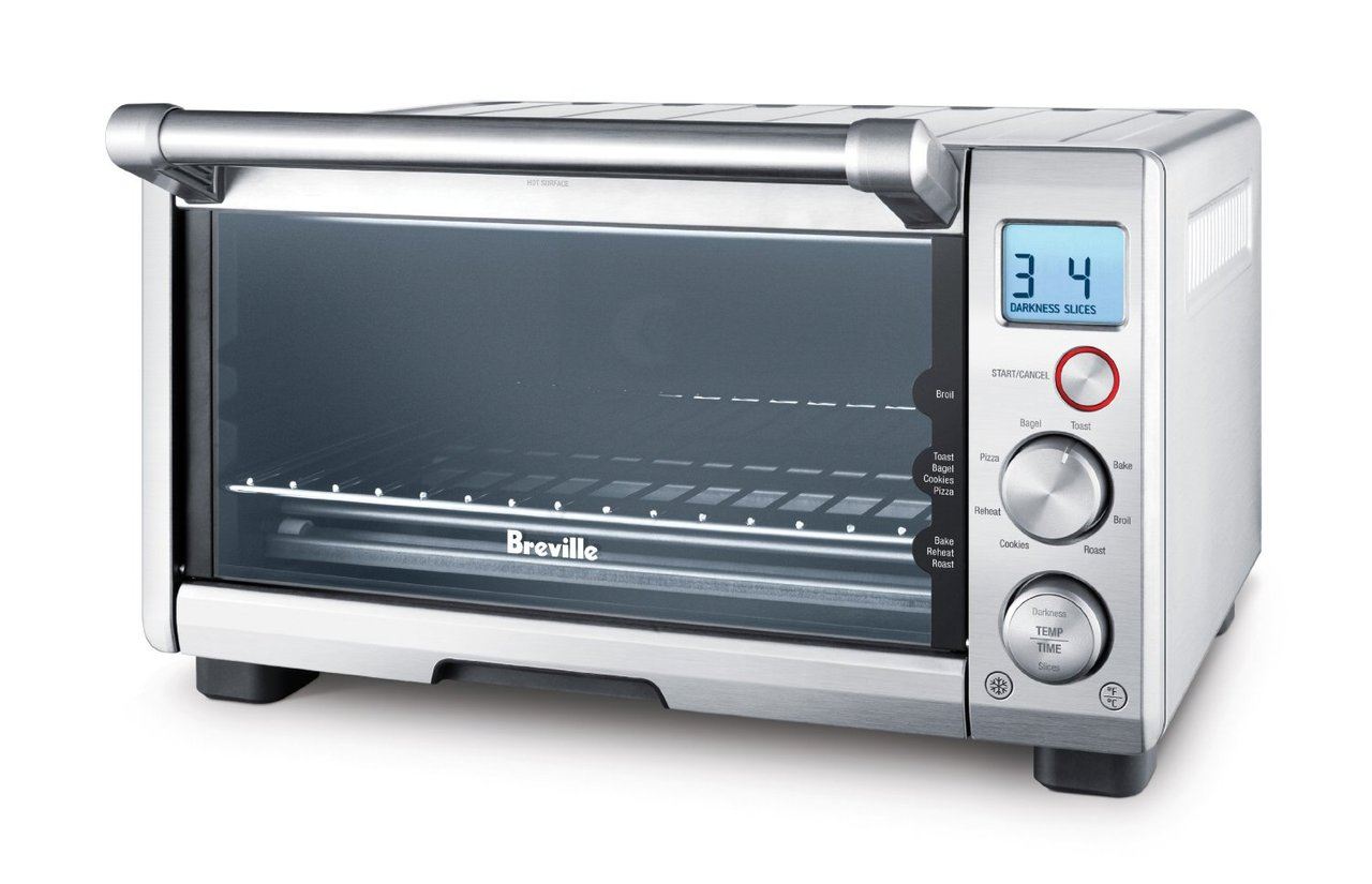 Breville BOV650XL The Compact Smart Oven 1800-Watt Toaster Oven with Element IQ     by  Breville       $179.95                 This 1800 watt countertop oven has smart features, but takes up less space     Independent heating elements put the power where it's needed most     Elements adjust automatically for each of the eight preset functions to deliver the right cooking temperature at the right time     Presets include: toast, bagel, bake, roast, broil, pizza, cookies, and reheat     Oven remembers personal preferences