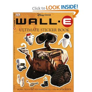 Ultimate Sticker Book: Wall-E (Ultimate Sticker Books)  [Paperback]       DK Publishing  (Author)      8 new  from  $11.98       21 used  from  $7.99        When Earth becomes too cluttered with trash, the humans jump into orbit and send down robots to clean up. This clean-up mission fails, except for the efforts of one, last little robot, Wall-E. When a robotic probe is sent to check on the clean-up robots, Wall-E falls deeply in love with the robot sent. Her name is Eve.     Readers will love this essential guide to background info and extra glimpses into Wall-E's life on the trash-cluttered Earth.