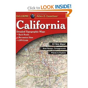California Atlas & Gazetteer (Delorme Atlas & Gazetteer Series) [Perfect Paperback] Note: May contain trap streets DeLorme (Author, Editor, Illustrator) $16.47  This new atlas contains topographic maps and recreation information for the entire Golden State. It replaces the former Northern California and Southern & Central California Atlas & Gazetteer volumes. NEW in the California Atlas & Gazetteer Enhanced shaded relief for superior terrain views Larger place name fonts, improved road displays Updated roads and road names 2-page Yosemite National Park map Includes updated exit numbers on interstate highways Map pages overlap N-S and E-W to better display edge detail The first choice of outdoors enthusiasts. Beautiful, detailed, large-format maps of every state Perfect for home and office reference, and a must for all your vehicles Gazetteer information may include: campgrounds, attractions, historic sites & museums, recreation areas, trails, freshwater fishing site & boat launches, canoe trips or scenic drives. Categories vary by state