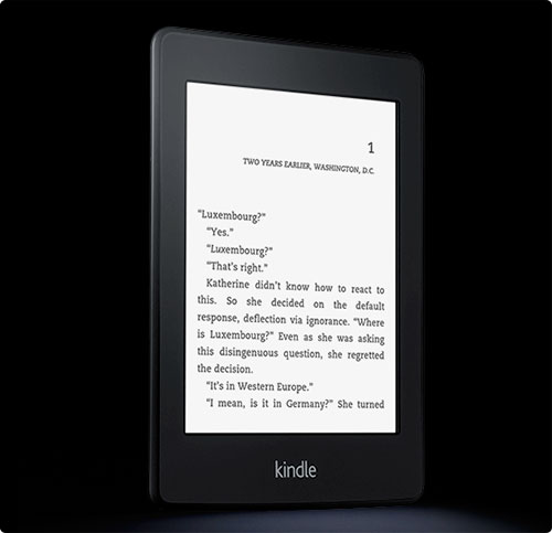 Kindle Paperwhite     Wi-Fi, Paperwhite Display, Higher Resolution, Higher Contrast, Built-in Light     $139.00     Exclusive digital benefits with Amazon Prime    World's most advanced e-reader - higher resolution, higher contrast touchscreen with built-in light and 8-week battery life          Patented built-in light evenly illuminates the screen to provide the perfect reading experience in all lighting conditions     Paperwhite has 62% more pixels for unsurpassed resolution     25% better contrast for sharp, dark text     Even in bright sunlight, Paperwhite delivers clear, crisp text and images with no glare     New hand-tuned fonts - 6 font styles, 8 adjustable sizes     8-week battery life, even with the light on     Holds up to 1,100 books - take your library wherever you go     Built-in Wi-Fi lets you download books in under 60 seconds     New Time to Read feature uses your reading speed to let you know when you'll finish your chapter     Massive book selection. Lowest prices. Over a million titles less than $9.99     180,000 Kindle-exclusive titles that you won't find anywhere else, including books by best-selling authors such as Kurt Vonnegut     Supports children's books and includes new parental controls       Kindle Owners' Lending Library - with Amazon Prime, Kindle owners can choose from more than 180,000 books to borrow for free with no due dates, including over 100 current and former  New York Times  best sellers and all 7 Harry Potter  books.
