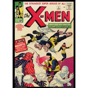 "X-Men #1: Vintage Marvel Poster Series  [Poster]       Asgard Press  (Author)      $16.95            The historic """"Marvel Age of Comics"""" comes to life with this collection of rare, archival-quality poster-sized reproductions of the past. Classic covers are presented in this unique, eco-friendly format for the avid collector as well as the casual fan. Each 20x28 inch poster is printed on premium, archival-quality, 100 percent recycled paper with soy-based inks, and fits in a standard poster frame. This is an officially licensed product of Marvel Comics."
