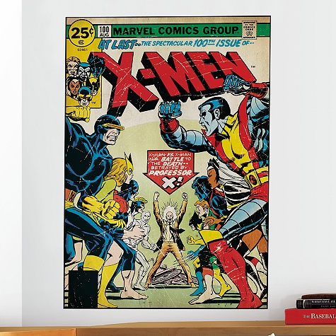 X-Men Comic Wall Graphic    Item No. 6452104312665P           Our Price:  $30.50                     Professor Xavier is featured with the Earth's mightiest team on this X-Men Comic Wall Graphic. This reproduction of Marvel Comics' cover of the 100th issue of X-Men has been given a vintage look that will add a heroic touch to any room.