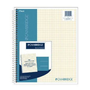 Cambridge Quad Wirebound Notebook 70ct (06194)         $4.99          Technical Details      One double pocket divider   Perforated, Laminated cover   Cover is Navy.   Quad ruled, ivory paper   4 Squares per inch
