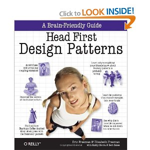"Head First Design Patterns [Paperback] Elisabeth Freeman (Author), Eric Freeman (Author), Bert Bates (Author), Kathy Sierra (Author),Elisabeth Robson (Author) $29.99  With Head First Design Patterns, you'll avoid the embarrassment of thinking Decorator is something from the ""Trading Spaces"" show. Best of all, in a way that won't put you to sleep! We think your time is too important (and too short) to spend it struggling with academic texts."