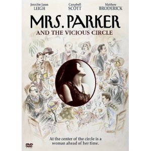 Mrs. Parker and the Vicious Circle (1994) Jennifer Jason Leigh (Actor), Campbell Scott (Actor), Alan Rudolph (Director) | Rated: R | Format: DVD $12.99  Cigarette smoke and laughter… The hollow clink of martini glasses and biting one-liners… This was the famed lunch scene at the Algonquin Hotel's Round Table of the 1920's, home to a circle of mutually supportive young artists that defined the heyday of New York sophistication and a literate era of wit and intellect. At the heart of the round table sat Mrs. Dorothy Parker (Jennifer Jason Leigh), one of the sharpest, most biting wits of the past century. But beneath the raucous laughter is a darker and richer tale filled with passionate affairs, friendship and tragedy, all captured in this striking masterpiece of unrequited love and self-destructive impulses from acclaimed director Alan Rudolph (The Secret Life of Dentists, Choose Me).