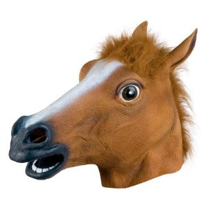 Accoutrements Horse Head Mask - $26.25 and Prime eligible. From the Manufacturer We've discovered yet another universal truth - a person wearing a Horse Head Mask looks downright disturbing. But don't take our word for it, wear this latex mask with realistic fur mane to your next social function and watch as people scramble to avoid you. Fits most adult heads. Bagged with illustrated tag.