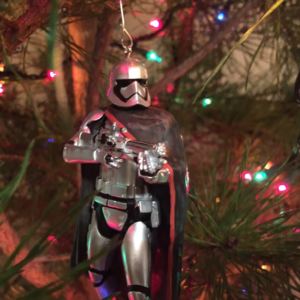 Captain Phasma ornament on our Christmas tree