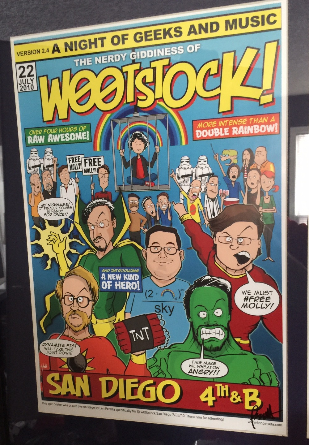 Artist Len Peralta drew this poster for the show and Dan purchased a version with himself added in the center