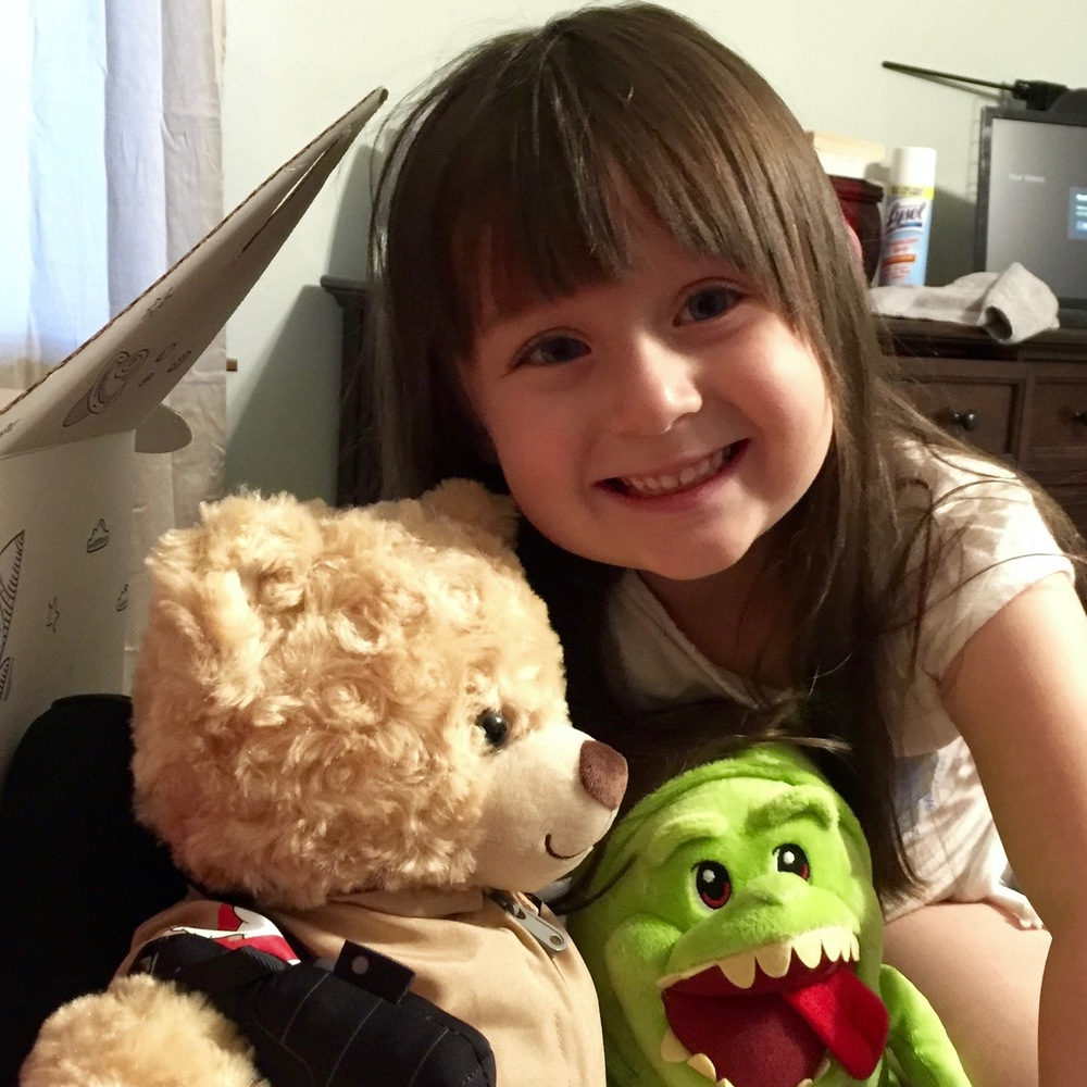 Penelope saved up her allowance to buy a new bear with the Ghostbusters jumpsuit and proton pack, along with Slimer. She named her bear Dr. Jillian Holtzmann.