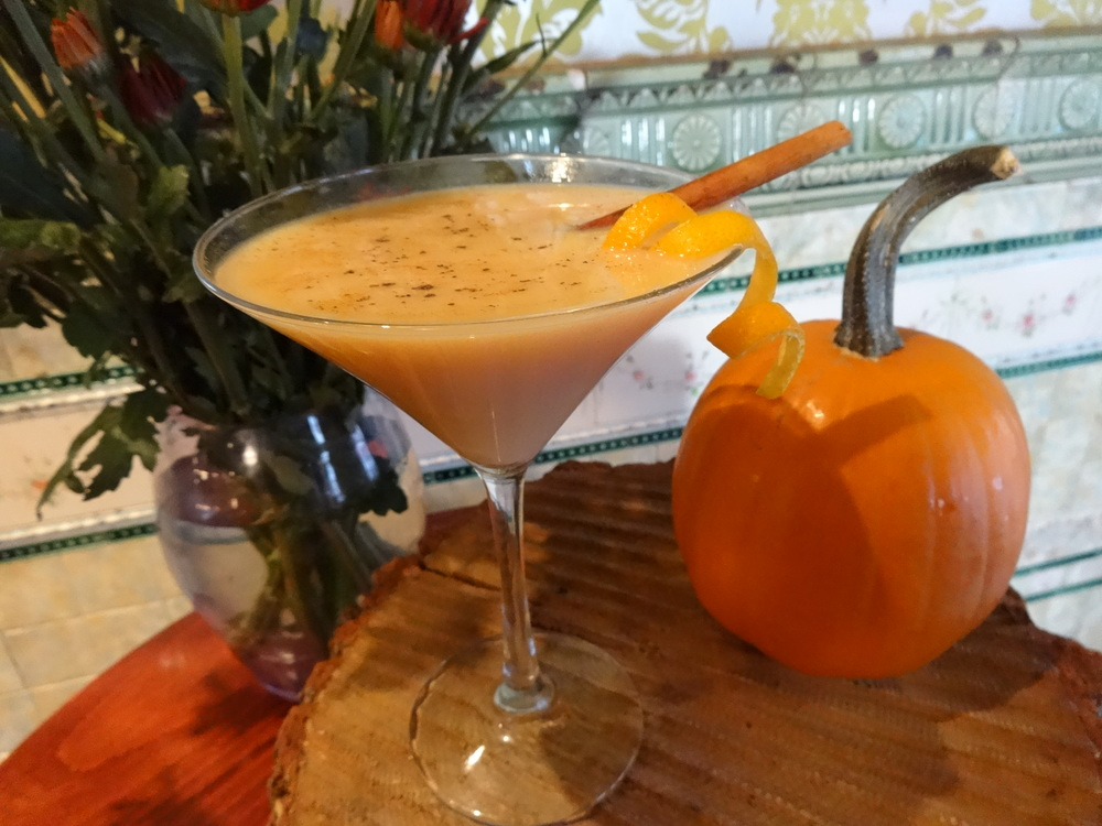 The Samhain Infussion  with Stoli Vodka, Roasted  Sugar   Pumpkins , Vanilla Bean, Cinnamon, Nutmeg, All Spice and Candied Ginger mixed with RumChata
