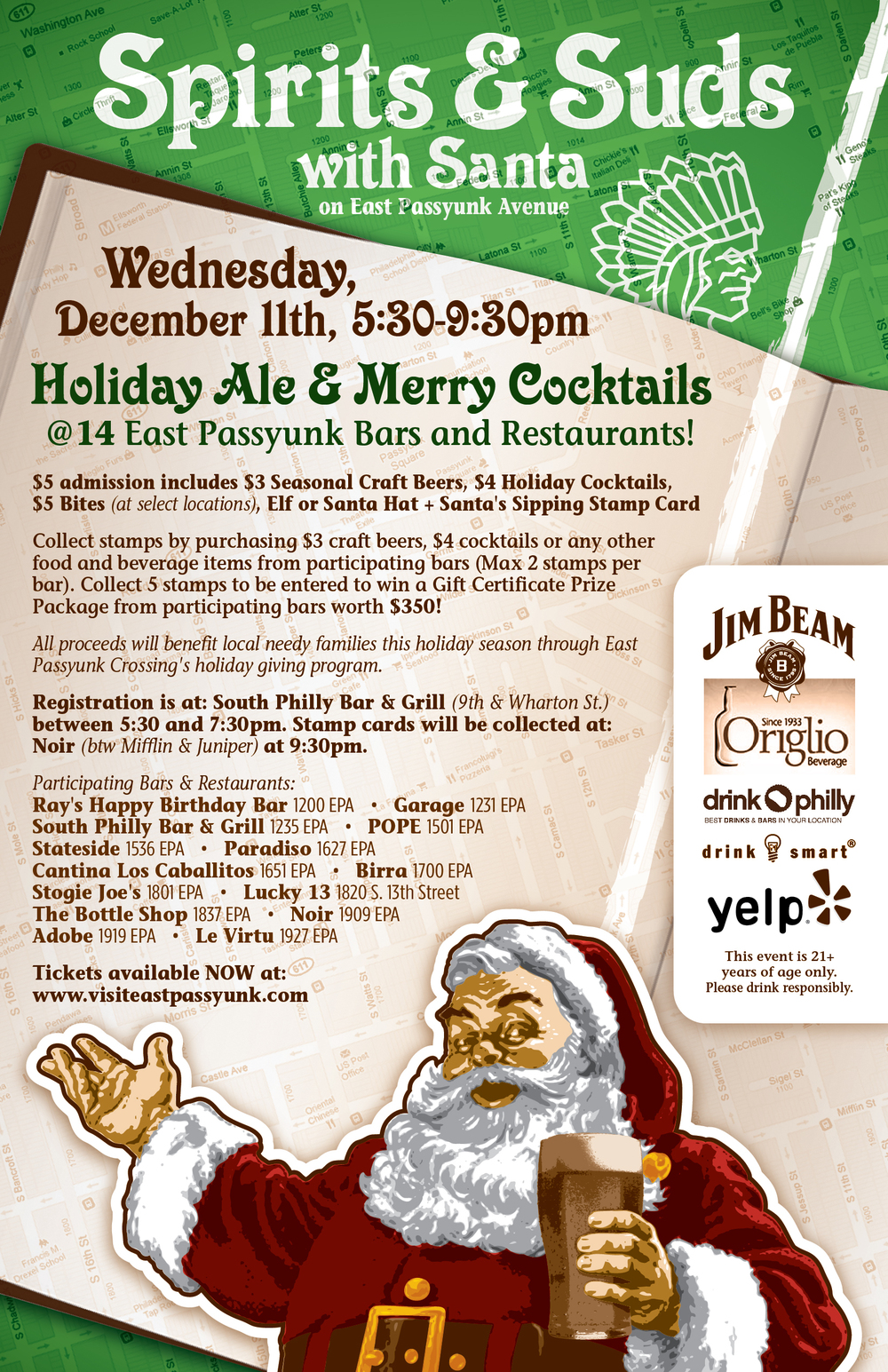 East Passyunk Spirits and Suds Santa Bar Crawl