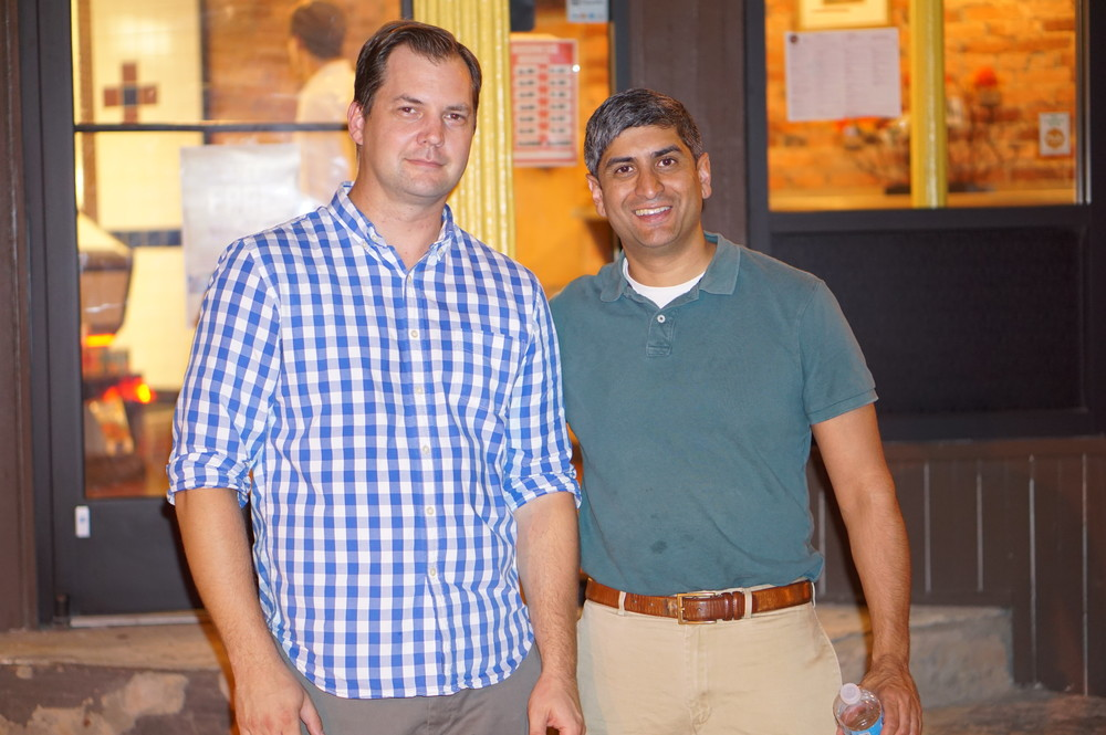 Mt Airy New Executive Director Brad Copeland and former Executive Director (and now at Reading Terminal) Anuj Gupta.JPG