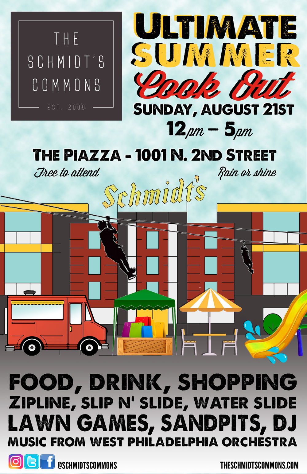 piazza, schmidt's commons, ultimate summer cookout, northern liberties, summer party, samwich, wahlburgers