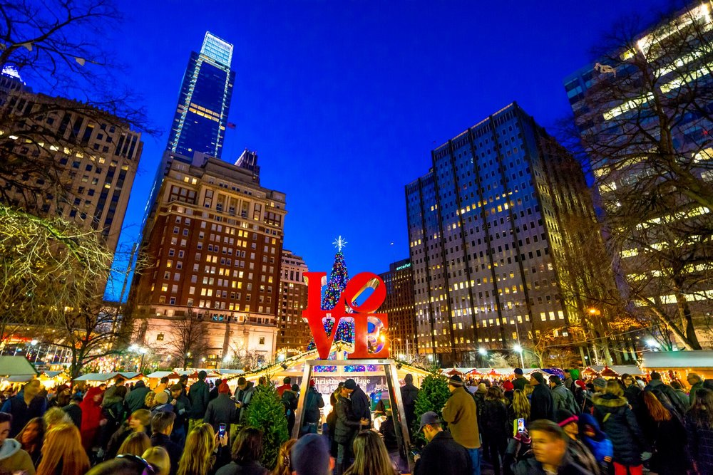 Christmas Village in LOVE Park