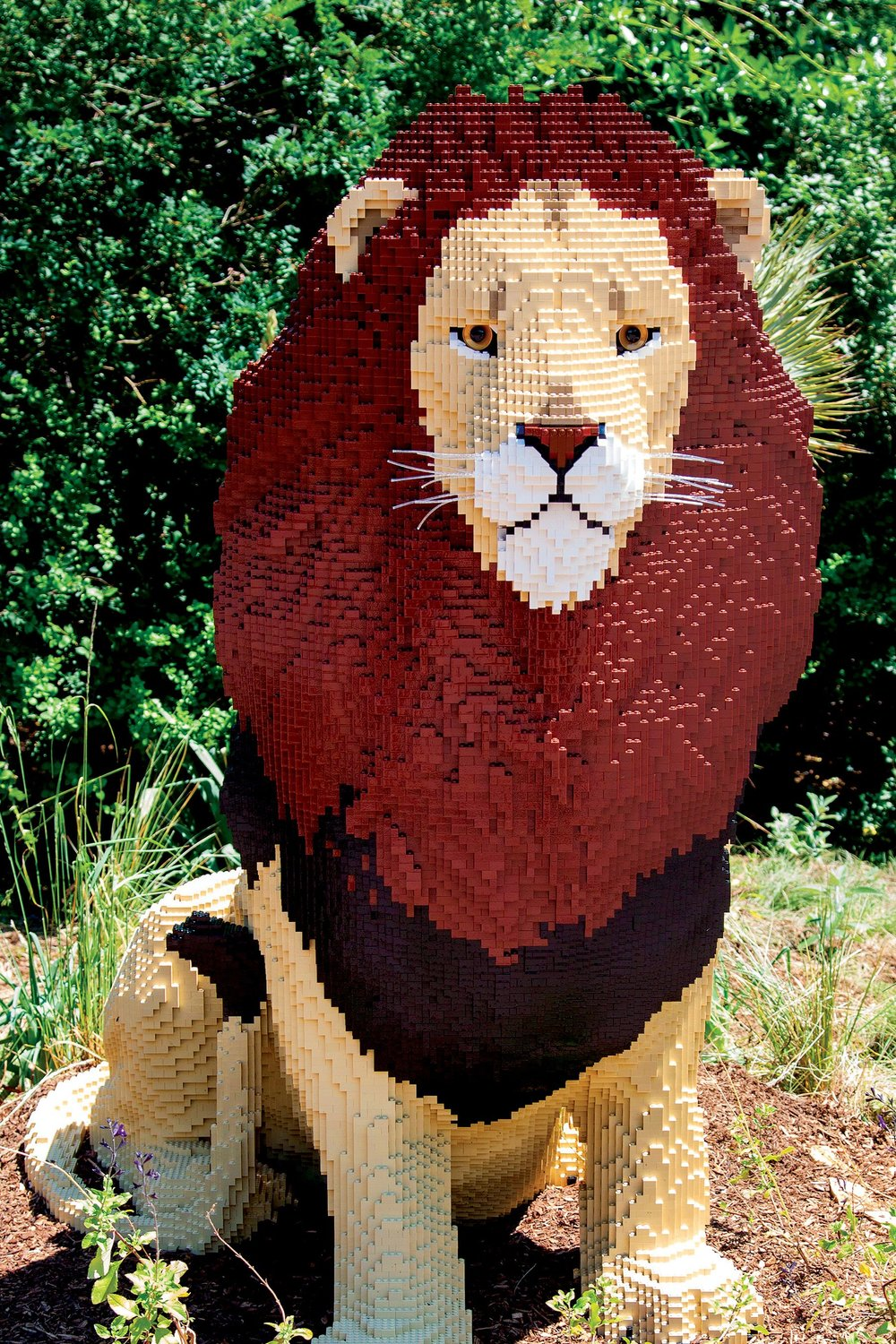Lion Sculpture Made of LEGO Pieces