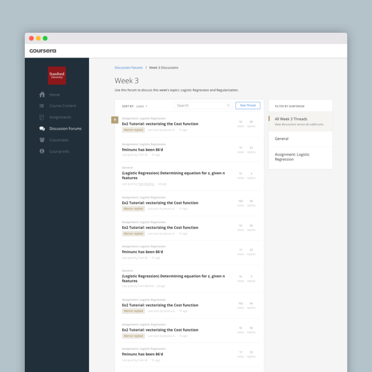 Coursera Forum Redesign  //  Coming soon