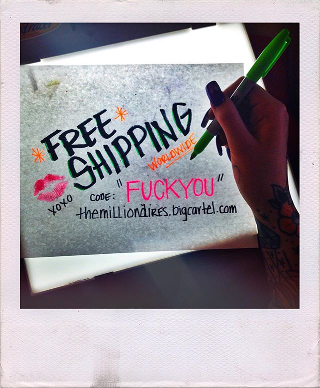 """3 MORE HOURS! 💥FREE SHIPPING WORLDWIDE💥 code:""""FUCKYOU"""" 💋 themillionaires.bigcartel.com 🎀📬💌"""