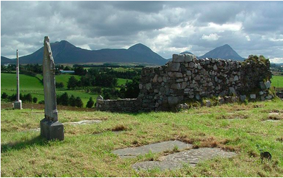 Historical burial graveyard & 13th century church walls at Baile an Teampall, Tullaghabegley.