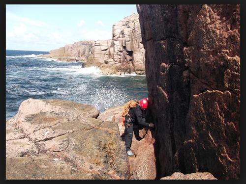 Rock climbing on Gabhla Island.