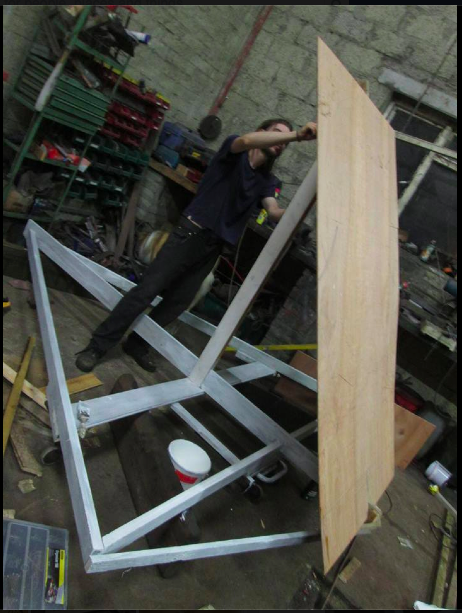 Locals are donating their time to constructing the large scale puppets -Pictured here is Roger making the stand for Balor!