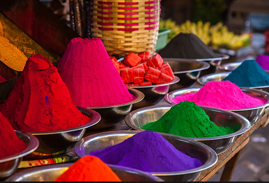"Powdered paint in a ""Pink City"" market"