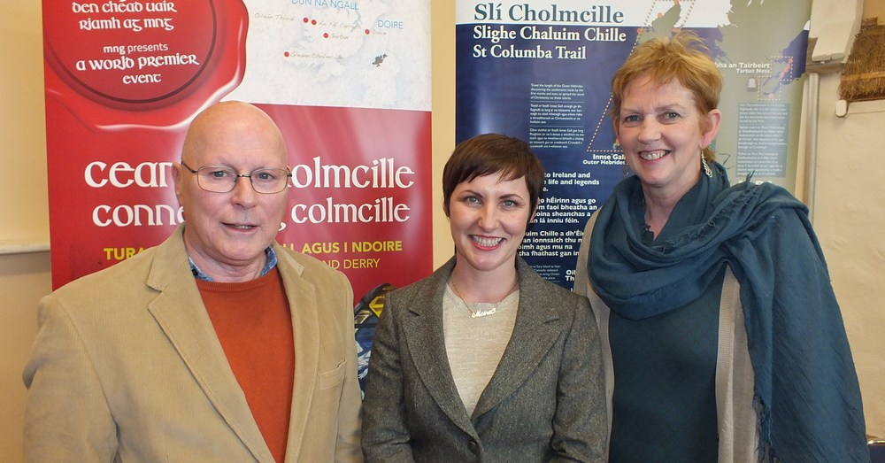 Dr. Brian Lacey left, Moira Ní Ghallachóír, founder of mng middle, Patti Holly, Áras Colmcille, Derry right, at the launch of the Connecting Colmcille tour
